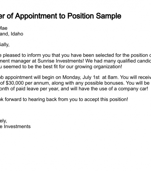 Attractive Appointment Letter Throughout Letter Of Appointment