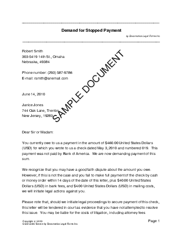 Cheque Stop Payment Letter Legal Documents - Formal demand for payment letter template