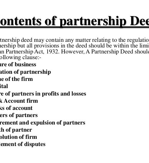 Partnership Deed Legal Documents - Partnership legal documents