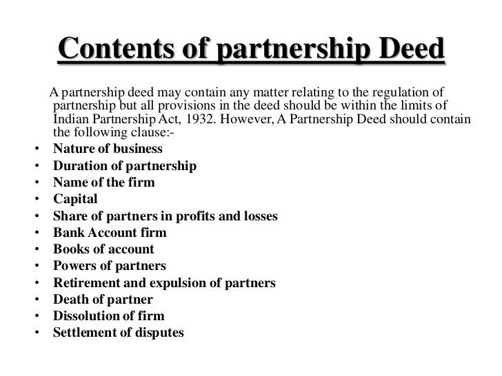 Partnership deed legal documents for Law firm partnership agreement template