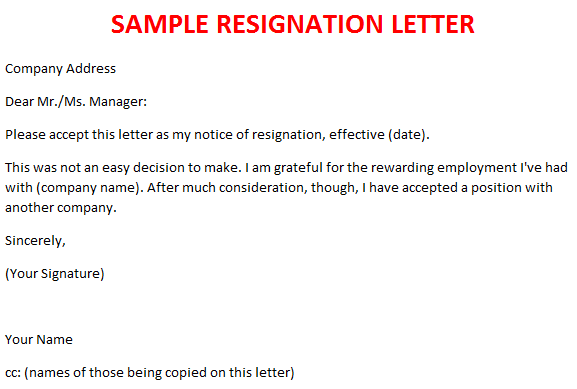resignation letter legal documents