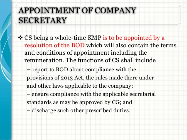 resolution for appointment of a company secretary  u2013 legal