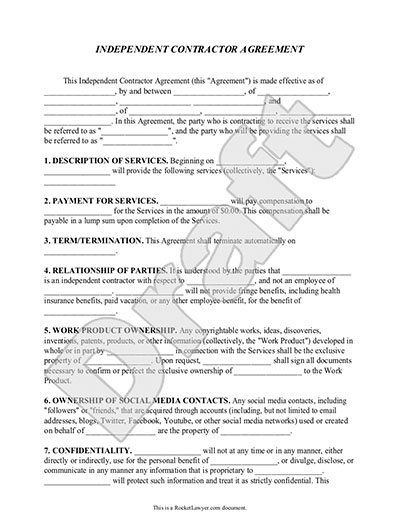 Gratifying image with free printable independent contractor agreement